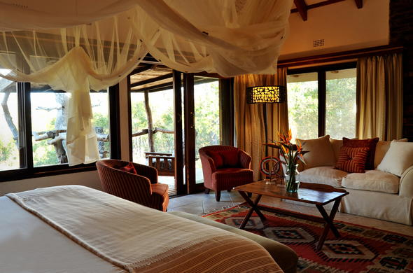 Inside the cosy chalets offered at Idube Game Lodge.
