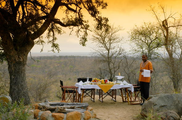 A delicious bush breakfast table is set at Leopard Hills Safari Lodge.