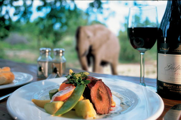 Enjoy sumptuous cuisine while game viewing.